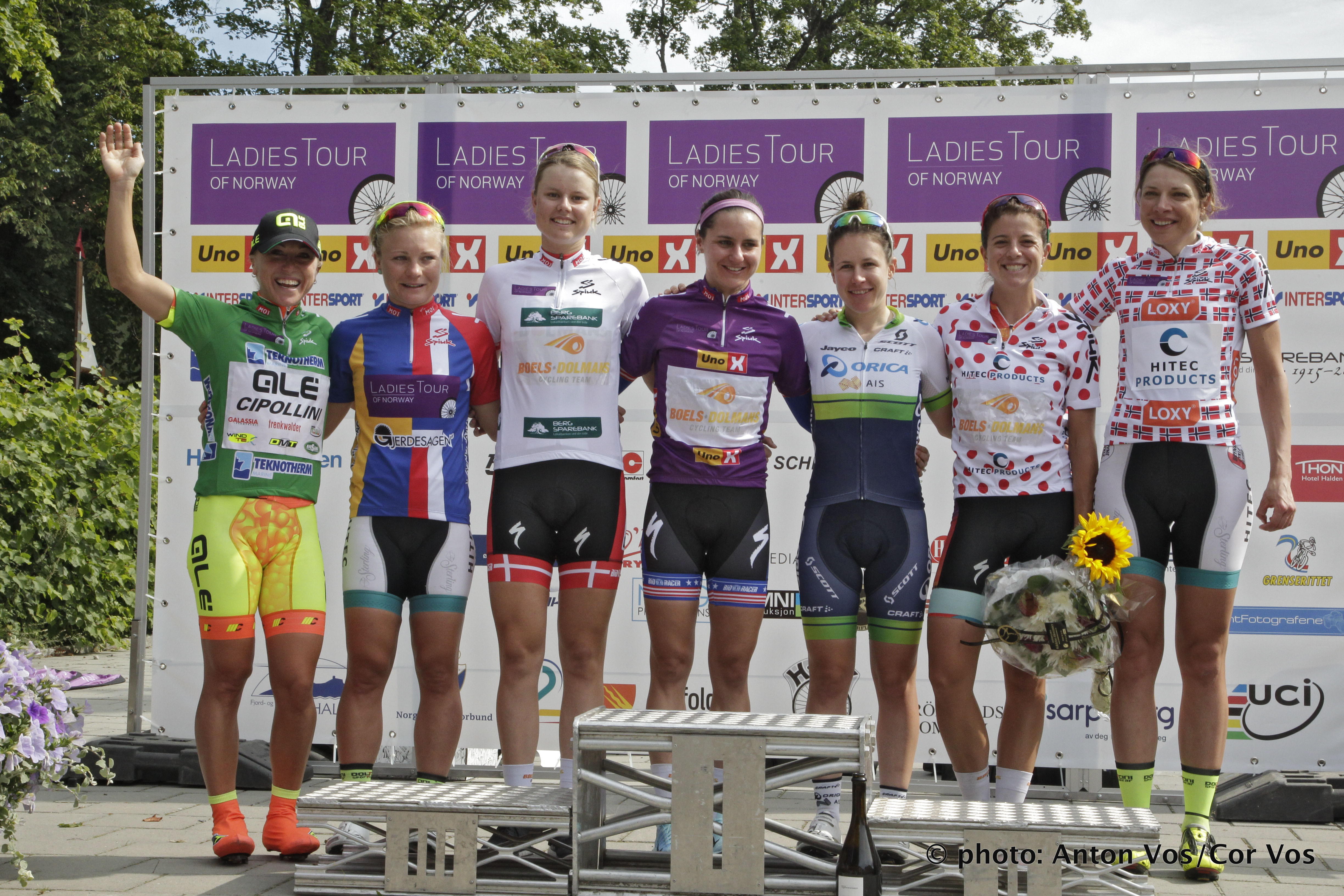 Halden - Norway - wielrennen - cycling - radsport - cyclisme -  Guarnier Megan of Boels Dolmans Cycling Team - Olds Shelley of Ale Cipollini (ITA) Moberg Emilie of Hitec Products - Dideriksen Amalie of Boels Dolmans Cycling Team - Spratt Amanda of Orica AIS Stevens Evelyn of Boels Dolmans Cycling Team - Heine Vita of Hitec Products pictured during  stage - 2 of the Ladiestour of Norway 2015 - photo Anton Vos/Cor Vos © 2015