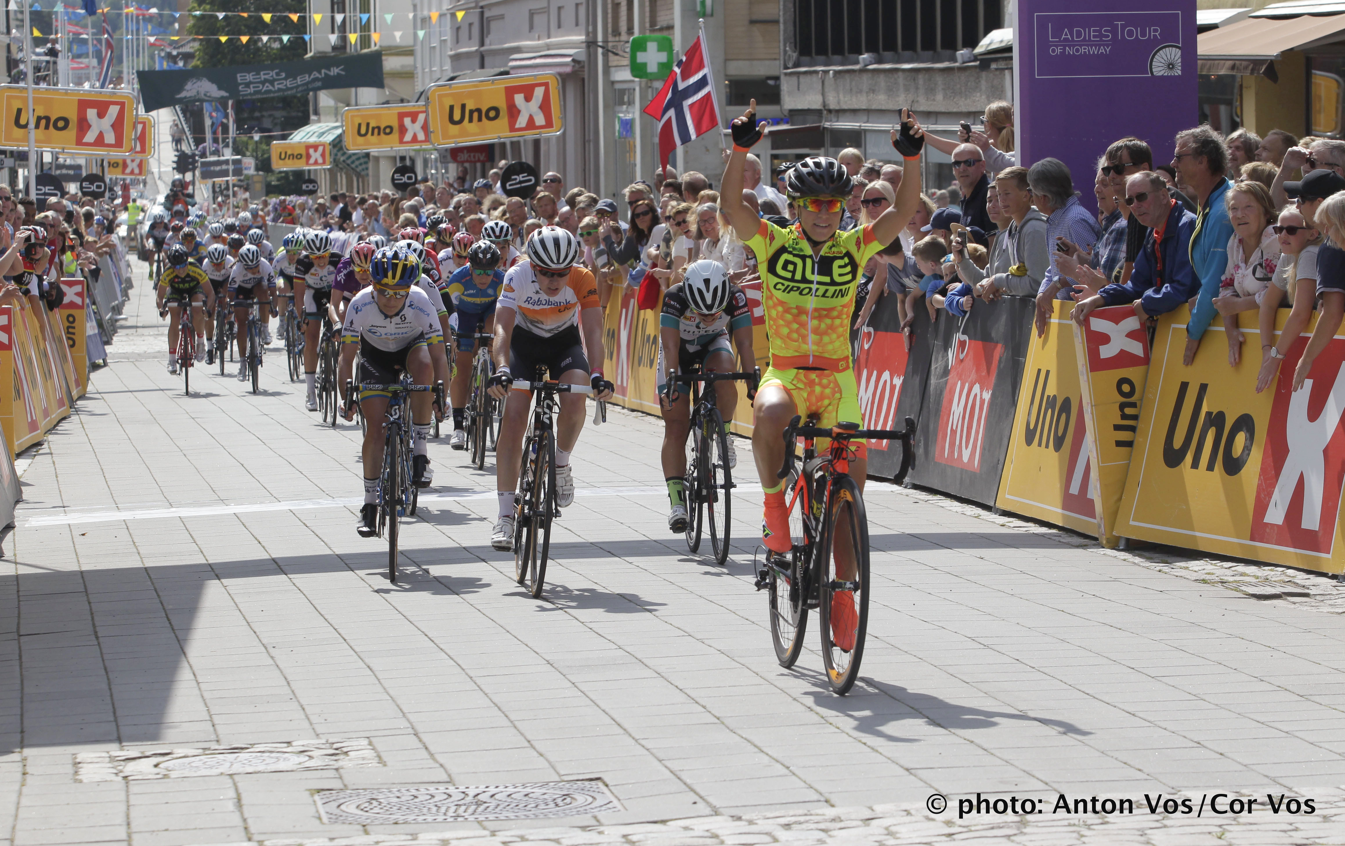 Halden - Norway - wielrennen - cycling - radsport - cyclisme -  Olds Shelley of Ale Cipollini (ITA) - Anna van der Breggen of Rabobank Liv Women Cycling Team - Moberg Emilie of Hitec Products - Johansson Emma of Orica AIS  pictured during  stage - 2 of the Ladiestour of Norway 2015 - photo Anton Vos/Cor Vos © 2015